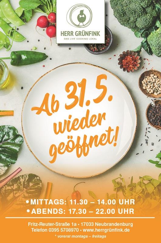 Das Live-Cooking Lokal Herr Grünfink öffnet Ende Mai wieder sein Restaurant.